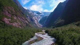 Beautiful Nature Norway natural landscape. Glacier Kjenndalsbreen aerial footage.