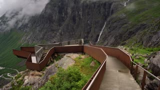 Troll road lookout observation deck view point beautiful nature norway.