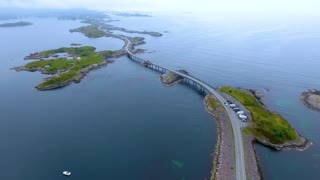 Aerial view Atlantic Ocean Road or the Atlantic Road  Norwegian Construction of the Century