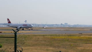 AIRPORT FRANKFURT,GERMANY: JUNE 23, 2017: Airbus A320 Swiss International Air Lines AG is the national airline of Switzerland .It is a subsidiary of the Lufthansa Group