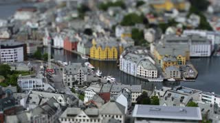 Aksla at the city of Alesund tilt shift lens, Norway