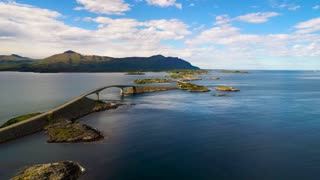 Atlantic Ocean Road Aerial footage Norway