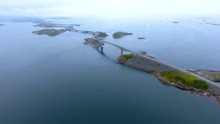 Atlantic Ocean Road Aerial footage Norway