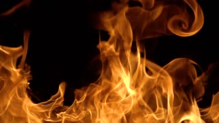 Flames of fire on black background in slow motion