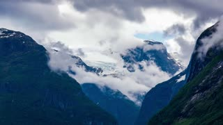 Glacier Kjenndalsbreen time lapse. Beautiful Nature Norway natural landscape.