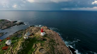 Lindesnes Fyr Lighthouse, Beautiful Nature Norway natural landscape aerial footage.