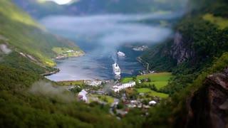 Tilt shift lens - Geiranger fjord, Beautiful Nature Norway.