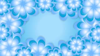 Blue abstract flowers graphic motion design. Video animation HD 1920x1080