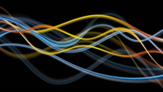 Blue and orange glowing abstract waves on black background. Video animation Ultra HD 4K 3840x2160