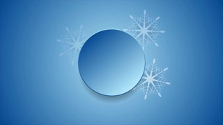 Blue Christmas snowflakes and blank circle video clip. Motion graphic design animation Ultra HD 4K 3840x2160