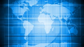 Blue tech geometric motion design with world map. Video corporate animation HD 1920x1080