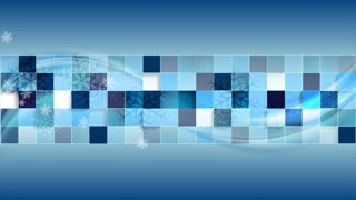 Bright blue geometric wavy Christmas motion background with snowflakes. Video animation Ultra HD 4K 3840x2160