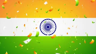 Bright confetti on Indian flag. Republic Day 26 January motion background. Video animation Ultra HD 4K 3840x2160