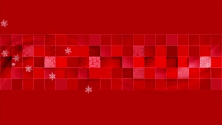 Bright red geometric wavy Christmas motion background with snowflakes. Holiday sale banner. Video animation Ultra HD 4K 3840x2160