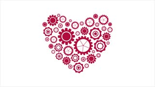 Bright red heart from tech gears graphic motion design. Seamless loop design. St Valentines Day video animation Ultra HD 4K 3840x2160
