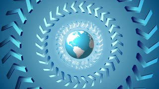 Bright tech arrows and globe rotation motion background. Seamless loop graphic design. Video animation Ultra HD 4K 3840x2160