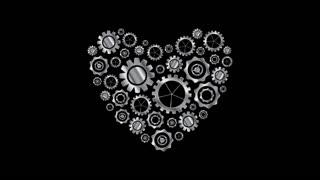 Metal heart from tech gears graphic motion design. Seamless loop design. Video technology animation HD 1920x1080