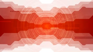 Red tech motion design with gear and world map. Video animation HD 1920x1080