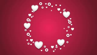 Rotating circle from beautiful hearts motion graphic design. St Valentines Day video animation clip Ultra HD 4K 3840x2160