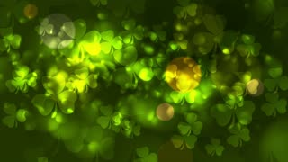 St. Patricks Day green abstract bokeh effect motion design with clovers. Video animation Ultra HD 4K 3840x2160
