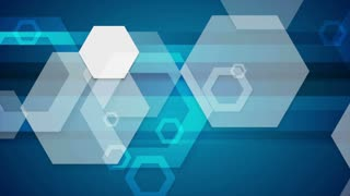 Abstract blue tech geometric motion background with hexagons. Seamless looping. Video animation Ultra HD 4K 3840x2160