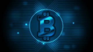 Blue technology motion design with bitcoin money emblem and circuit board lines. Internet virtual digital crypto currency symbol. Video animation Ultra HD 4K 3840x2160