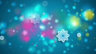 Bright blue shiny Christmas winter motion background with snowflakes. Video animation Ultra HD 4K 3840x2160