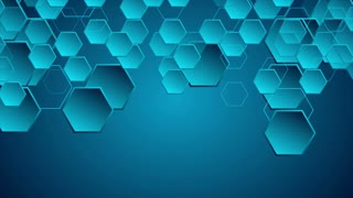 Dark blue hi-tech geometric abstract motion background with hexagons. Seamless looping. Video animation Ultra HD 4K 3840x2160