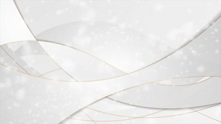 Grey silver abstract luxury wavy motion design with bronze outlines. Seamless looping. Video animation Ultra HD 4K 3840x2160