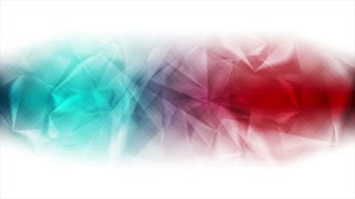 Red and turquoise glossy polygonal motion background. Seamless loop. Video animation Ultra HD 4K 3840x2160