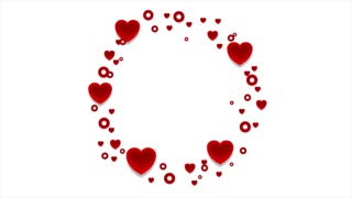 Red hearts St Valentines Day abstract motion graphic design. Video animation clip Ultra HD 4K 3840x2160