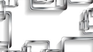 Silver metallic squares on white background motion design. Corporate video animation Ultra HD 4K 3840x2160