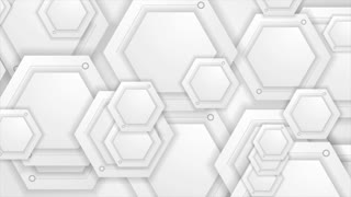White and grey tech motion design with hexagons. Video animation Ultra HD 4K 3840x2160