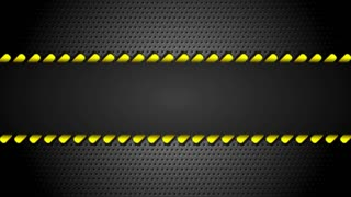 Yellow moving danger tape on metal perforated background. Seamless loopable. Video animation Ultra HD 4K 3840x2160