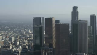 4K Aerial Flying Next to City of Los Angeles