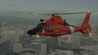 4K Aerial Flying Next to Coast Guard Helicopter