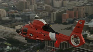 4K Aerial Flying over Coast Guard Helicopter