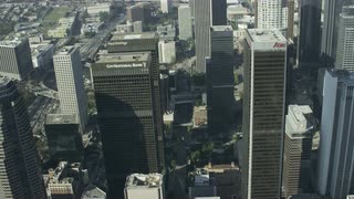 4K Aerial Flying Over Skyscrapers in Los Angeles