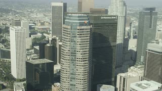 4K Aerial Flying up to Skyscrapers in Los Angeles