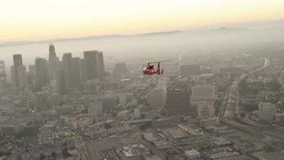4K Aerial of Coast Guard Helicopter Flying Towards Los Angeles