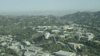 4K Aerial Shot Flying Over Los Angeles Suburb
