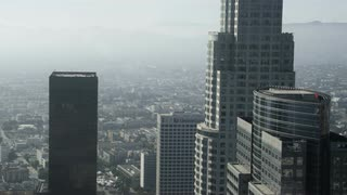 4K Aerial Zooming out from Skyscrapers in Los Angeles