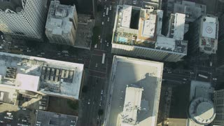 4K Birds Eye Aerial Flying Over Buildings
