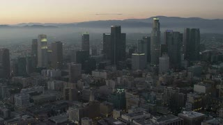 4K Wide Aerial Shot Flying over Los Angeles