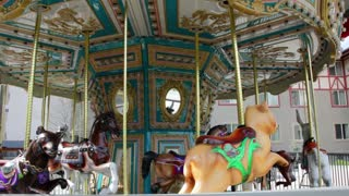 A merry-go-round carousel