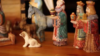 A beautiful hand carved and painted Nativity Creche