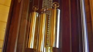 A cool old grandfather clock pendulum in living room