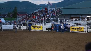 a cowboy calf roping rodeo slow motion