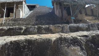 A Gimbal Shot Moving Through Ek Balam Mayn Ruins