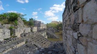 A gimbal shot of Mayan ruins at Ek Balam near Cancun